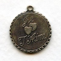 Je T'Aime French Charms Oxidized Silver Pendants