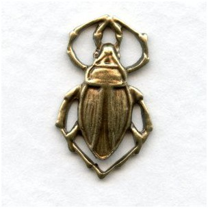 Beetle Connectors 17mm Oxidized Brass Stamping (6)