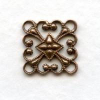 Square 12mm Filigree Connector Oxidized Copper