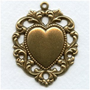 Floral Edged Heart Pendant with Loop Oxidized Brass