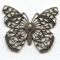 Most Exquisite Filigree Butterfly 48mm Oxidized Silver (1)