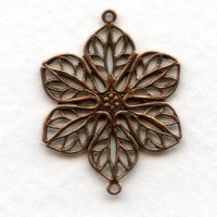 Filigree Flower Connectors Oxidized Copper (6)