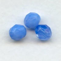 ^Blue Opal Fire Polished Round Faceted Beads 8mm