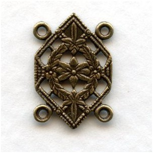 Floral Design 4 Loop Link or Connector Oxidized Brass