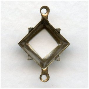 Open Back Settings 2 Loops 10x10mm Oxidized Brass