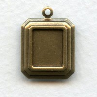 Rectangle Settings 10x8mm Oxidized Brass