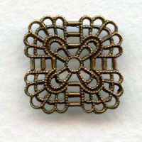 Rounded Square Filigree Connector Oxidized Brass