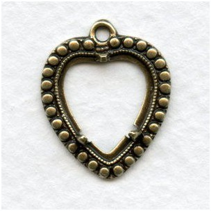 Heart Pendant Settings 11x12mm Oxidized Brass