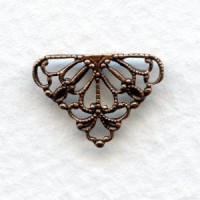 Tiny Filigree Connector 10mm Triangle Oxidized Copper