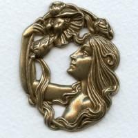 Art Nouveau Girl with Flowers Oxidized Brass 51mm