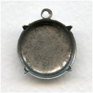 Round Closed Back 18mm Settings Oxidized Silver (6)
