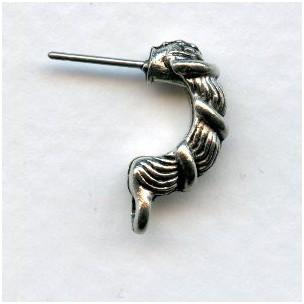 ^Half Hoop Earring Tops with Loop Oxidized Silver