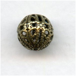 Dramatic Filigree Beads 10mm Round Oxidized Brass