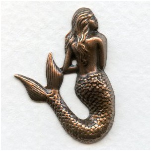 Small Mermaid Stampings Oxidized Copper 35mm (3)
