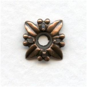 Starburst Settings for 4mm Stones Oxidized Copper