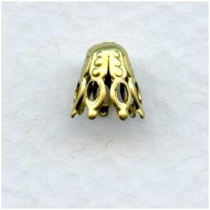 Pear Shape Filigree Bead Caps Raw Brass 6mm