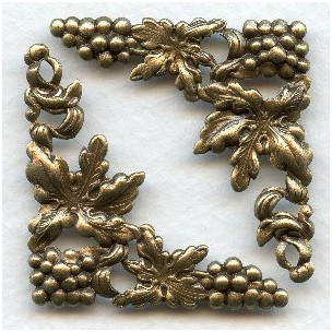Grape Motif Fancy Corners Oxidized Brass Stampings (6)