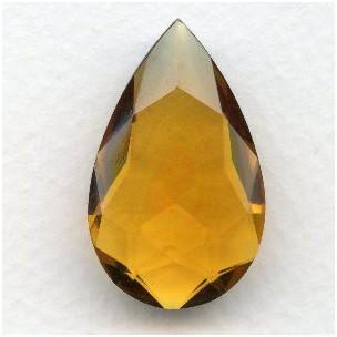 ^Topaz Glass Pear Shape Unfoiled Jewelry Stone 32x20mm