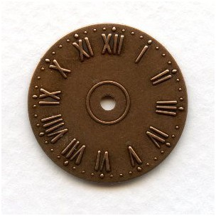 Clock Faces Roman Numerals Oxidized Copper 25mm (6)