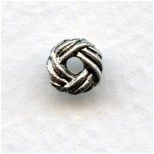 Basketweave Spacers Oxidized Silver Pewter