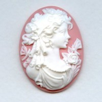 Girl with Flowers Cameo White on Angelskin 40x30mm