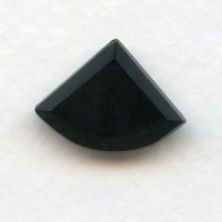 Jet Black Glass Fan Shape Stones 18x13mm