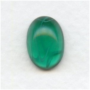 Vintage 14x10mm Oval Glass Cabochons Emerald Swirls (2)
