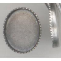 ^Serrated Edge Settings 10x8mm Oxidized Silver (12)