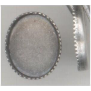 Serrated Edge Settings 10x8mm Oxidized Silver^ (12)
