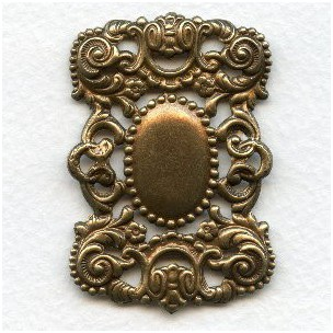 Ornate Openwork Rectangle Stamping Oxidized Brass