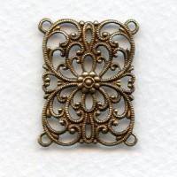 European Filigree Rectangle 28x22mm Oxidized Brass