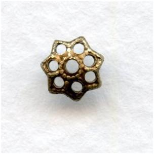 Filigree Petal Shape Bead Caps 6mm Oxidized Brass (50)