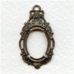 Ornate Drop Pendant Setting 18x13mm Oxidized Copper