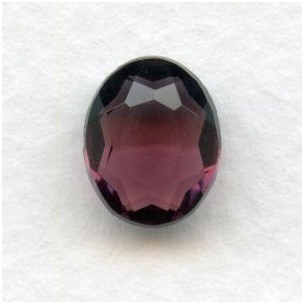 Amethyst Unfoiled Glass Jewelry Stones 10x8mm (2)