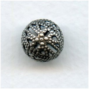 Filigree Beads 12mm Round Oxidized Silver