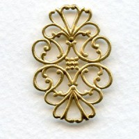 Filigree Flat Oval Connector Raw Brass (6)