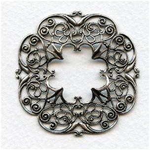 Openwork Detailed Filigree Framework Oxidized Silver