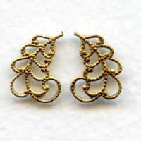 Filigree Leaves 14mm Right and Left Raw Brass
