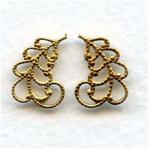 Filigree Leaves 14mm Right and Left Raw Brass (6 pairs)