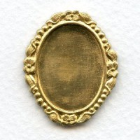 Ornate Floral Setting Base Raw Brass 25x18mm