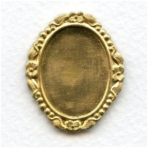^Ornate Floral Setting Base Raw Brass 25x18mm (1)