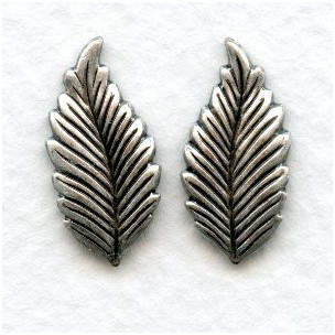 Favorite Leaves Great Size 19mm Oxidized Silver Leaves (6 Pairs)