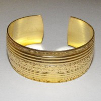 Floral Embossed Raw Brass Cuff 25mm