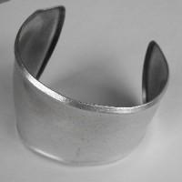 Asymmetric Smooth Cuff Bracelet Oxidized Silver