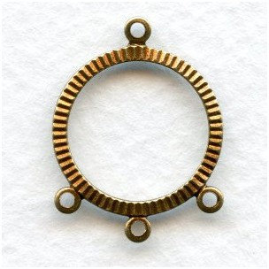 Three Strand Connector Hoops Oxidized Brass