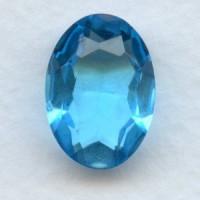 Aqua Glass Oval Unfoiled Jewelry Stone 18x13mm