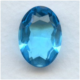 Aqua Glass Oval Unfoiled Jewelry Stone 18x13mm (1)