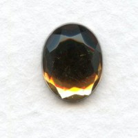 Smoked Topaz Glass Flat Back Stone 10x8mm Faceted Top