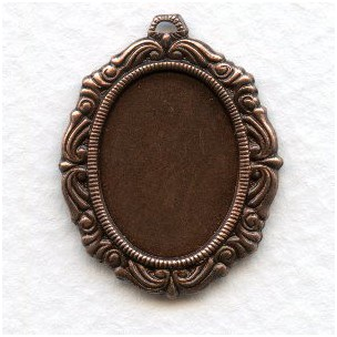 Ornate Detailed Setting 18x13mm Oxidized Copper (6)