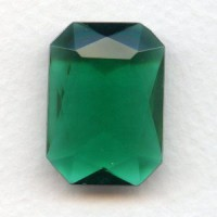Emerald Glass Octagon Unfoiled Jewelry Stone 25x18mm